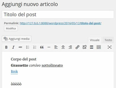 Nuovo post wordpress