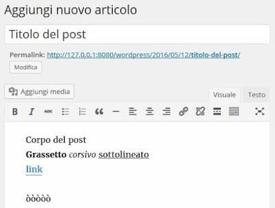 Nuovo post wordpress