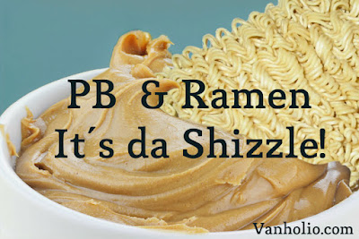 Uncooked block of ramen noodles is stuck in a bowl of creamy peanut butter