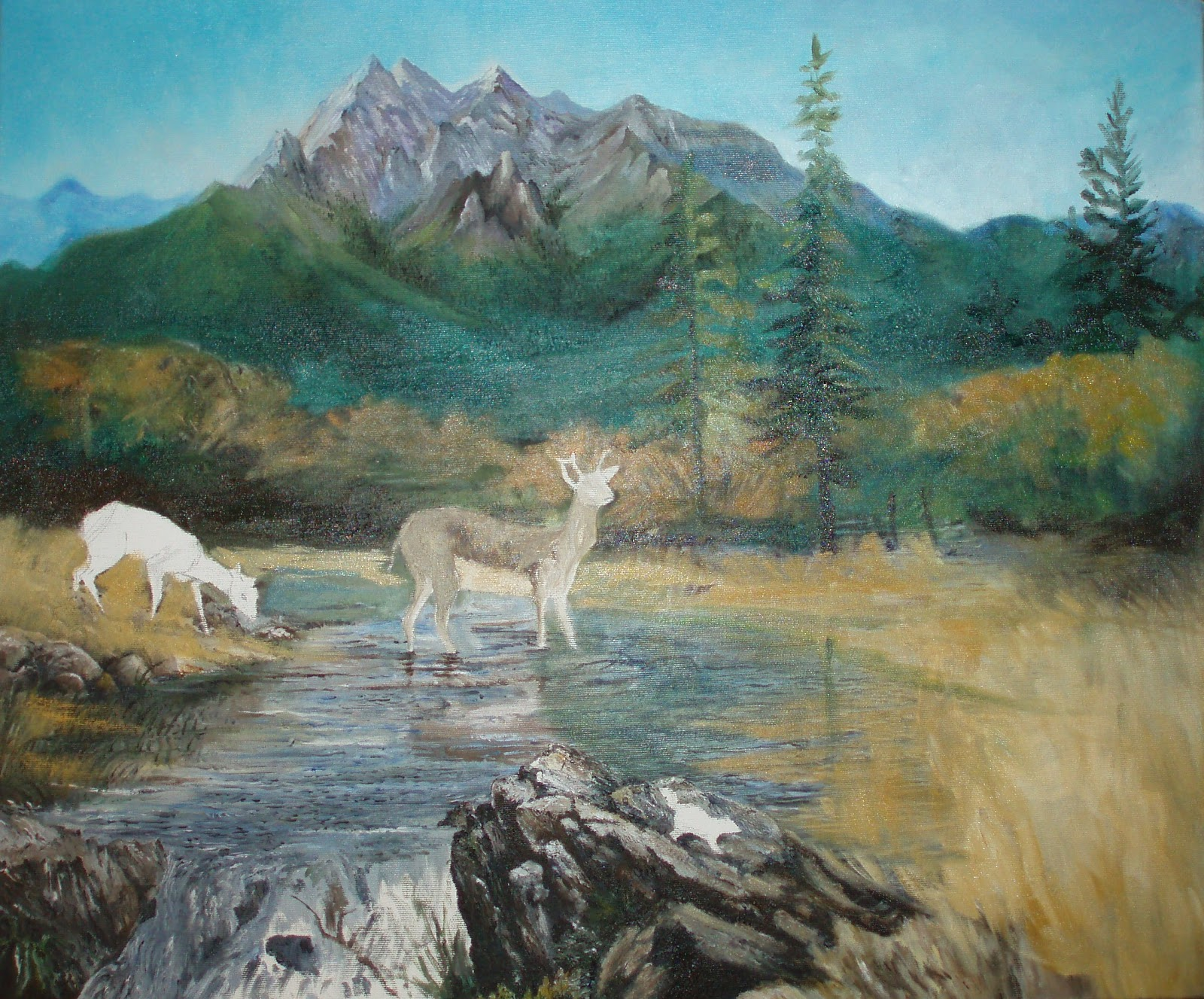 Rocky Mountain Landscape Paintings The above is a painting iUnfinished Landscape Painting