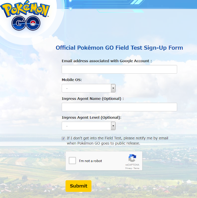 Official Pokémon GO Field Test Sign-Up Form Niantic Labs United States Australia New Zealand beta