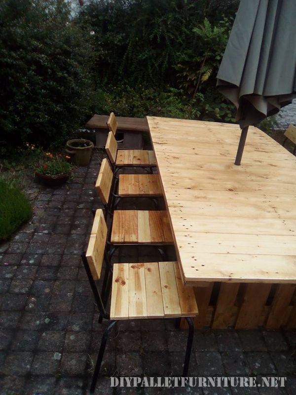 Mesa y sillas para cenador de jard n for Mesas de palets para jardin