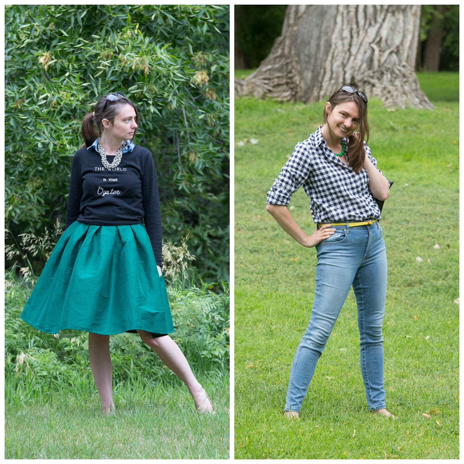 cllothing, style blogger, blogger, wyoming blogger, pearls, gingham shirt, green skirt,