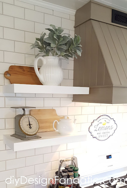 farmhouse kitchen, cottage kitchen, white kitchen, subway tile, custom range hood, open shelves, kitchen decor