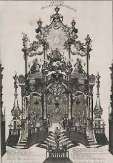 Miedzioryt z 1729 przedstawiający bramę triumfalną przed katedrą wrocławską z okazji uroczystości kanonizacyjnych św. Jana Nepomucena