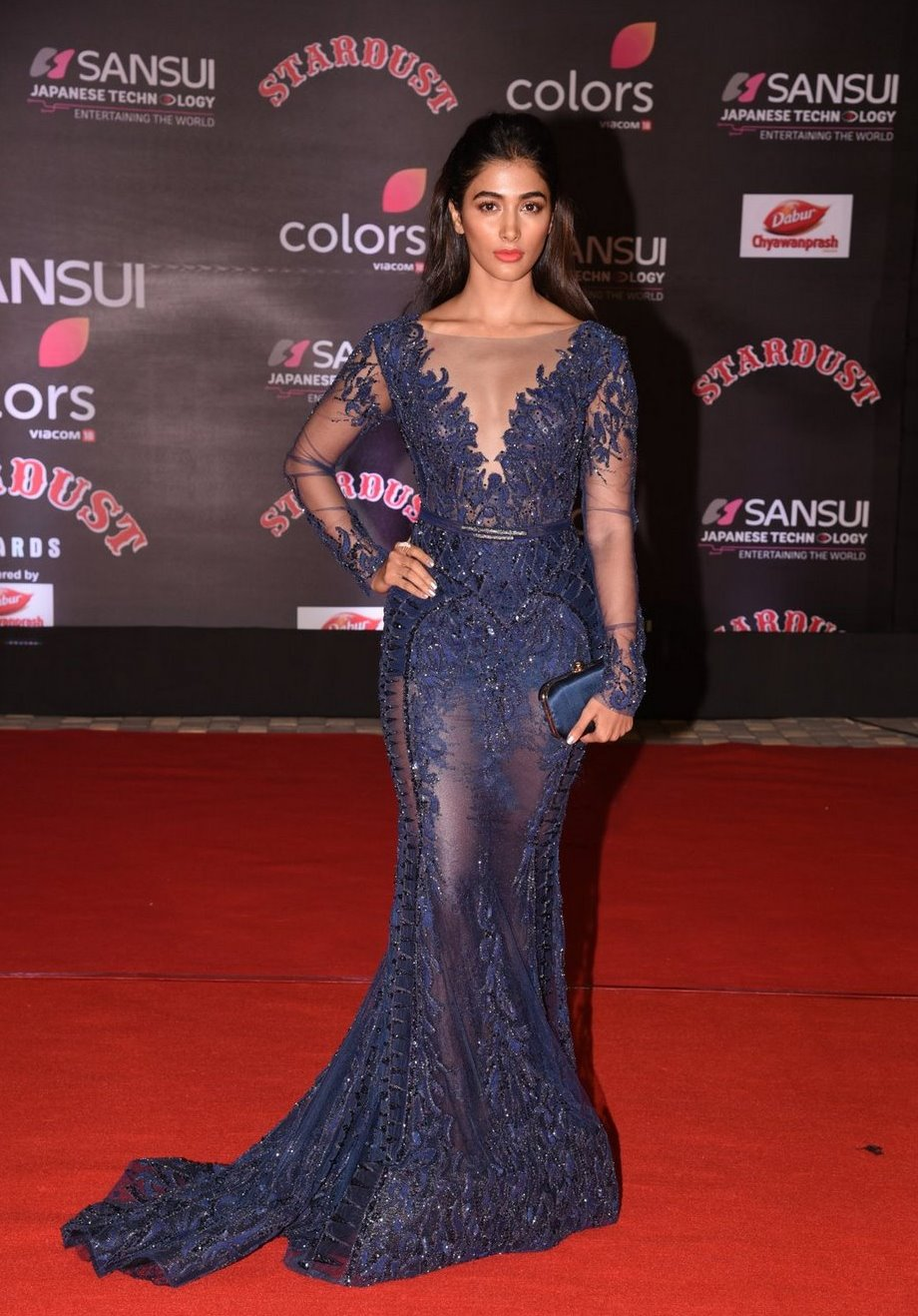 Pooja Hegde In Blue Dress At Star Dust Awards