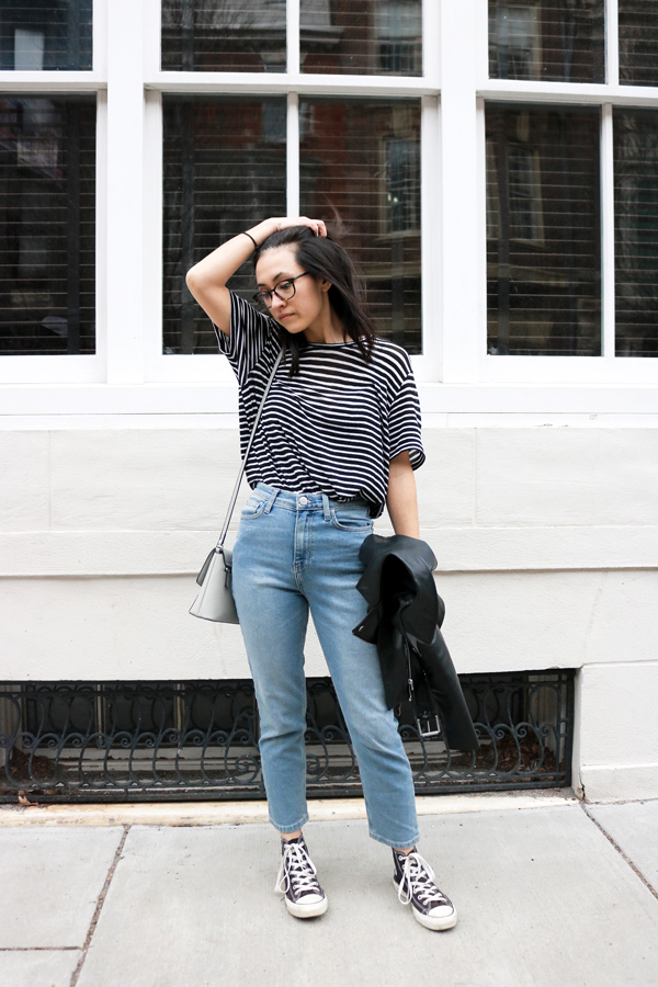 Simple and casual outfit, striped t-shirt, mom jeans, converse