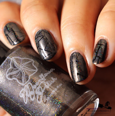 Nail stamping polish swatch of holographic charcoal gray nail polish Cozy Sweater by Moonflower Polish