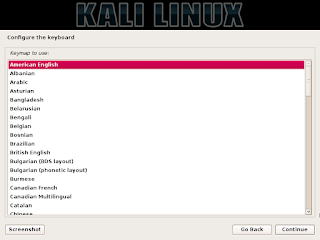 tahap instalasi kali linux pemilihan jenis keyboard yang kamu gunakan
