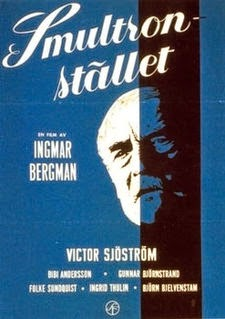 black and blue film poster with picture of an old man looking anguished