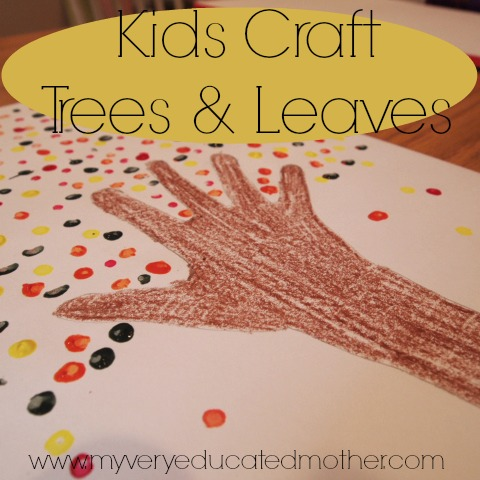 Kids Craft: Making trees and leaves using handprints and cotton swabs
