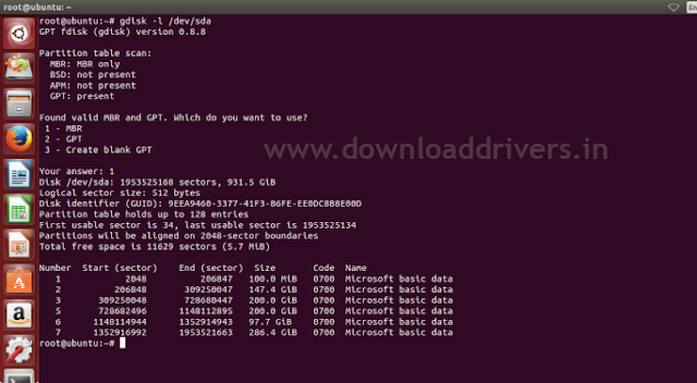 Ubuntu 14.04 Partition manager, installer not showing windows partition, Ubuntu error, GPT and MBR partion checking command