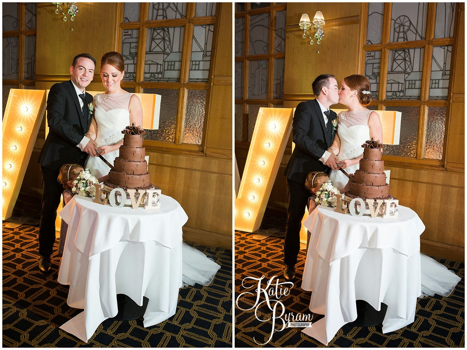 cake cutting, bride and groom, marks and spencers cake, newcastle city centre wedding, the vermont hotel,vermont weddings, newcastle wedding venue, katie byram photography, hotel wedding newcastle, quayside, nighttime wedding photographs