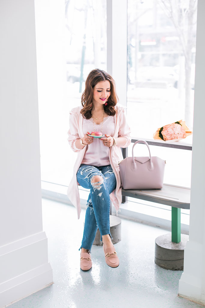 Blogger Outfit Pink Reitmans Pocket Raincoat in Rosewater Lace Camisole Distressed Jeans Blush Pink loafers