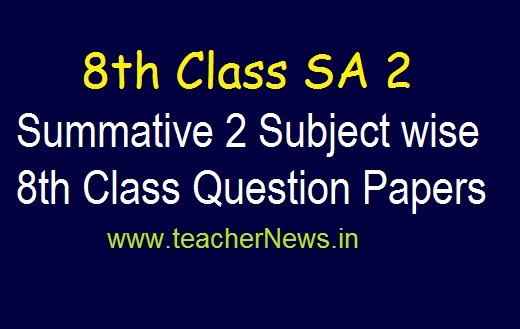 8th SA 2 Exam Model Question Papers 2019 | AP 8th Class Summative 2 Subject Questions pdf