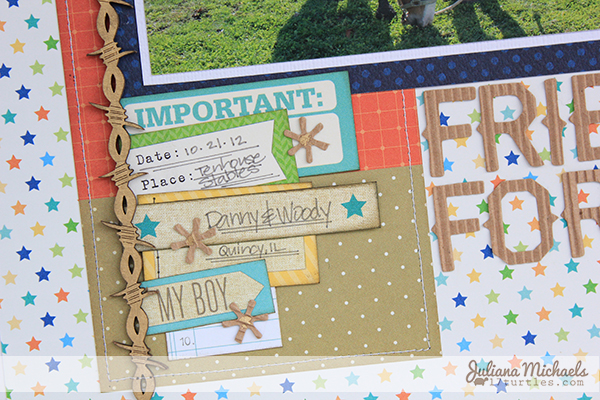 Best Friends Forever Scrapbook Layout detail by Juliana Michaels