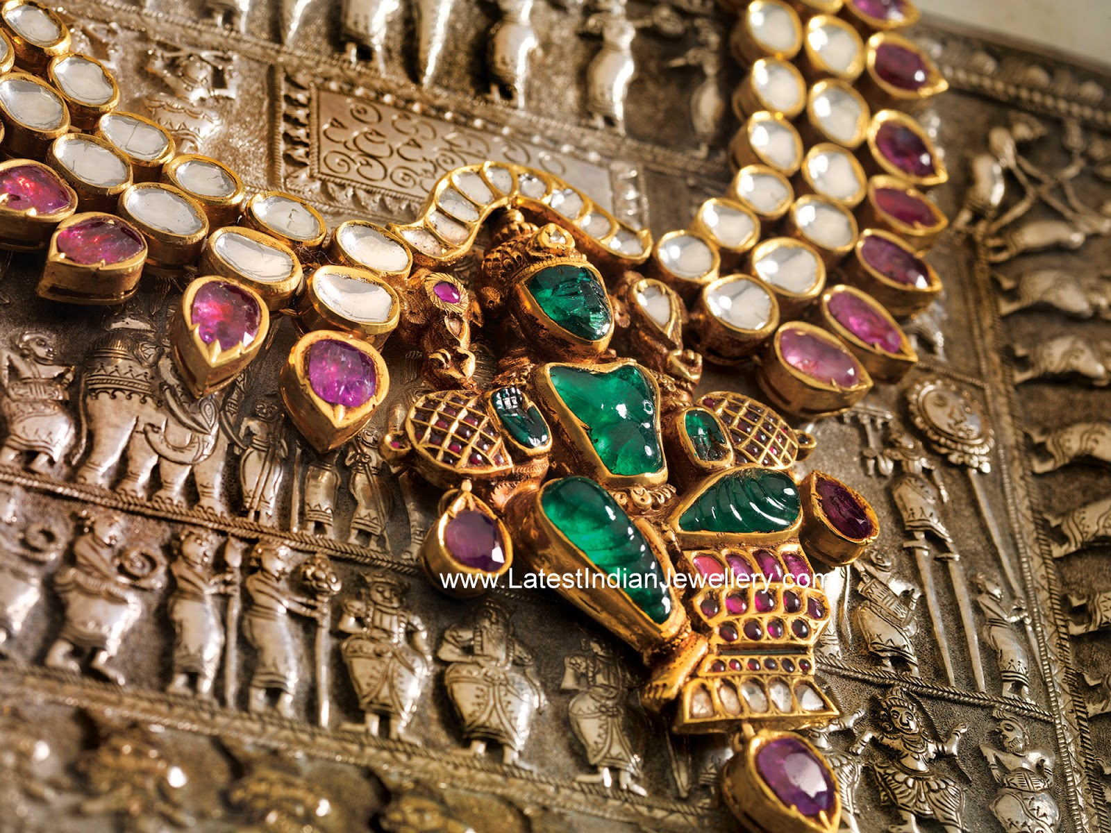 Carved Emerald Lakshmi Necklace