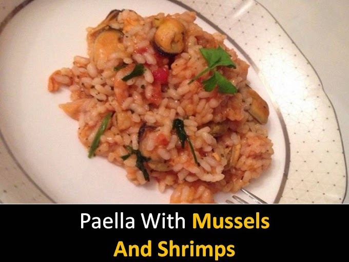 Paella with mussels and shrimps recipe