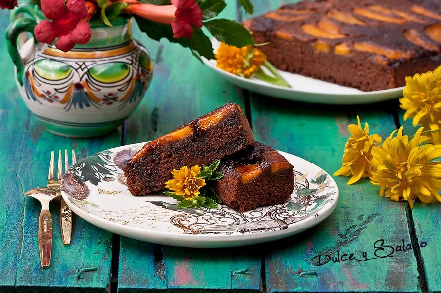 Bizcocho de Chocolate y Melocotones