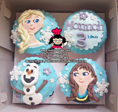Cupcake Fondant 2d Frozen Elsa, Anna, Olaf