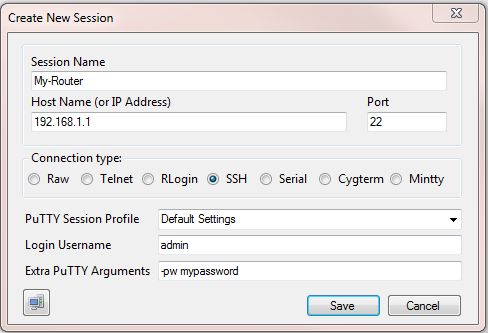 SuperPuTTY New Session Dialog