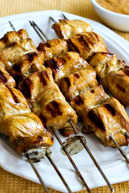 Grilled Curried Chicken  Skewers with Spicy Peanut Sauce found on KalynsKitchen.com