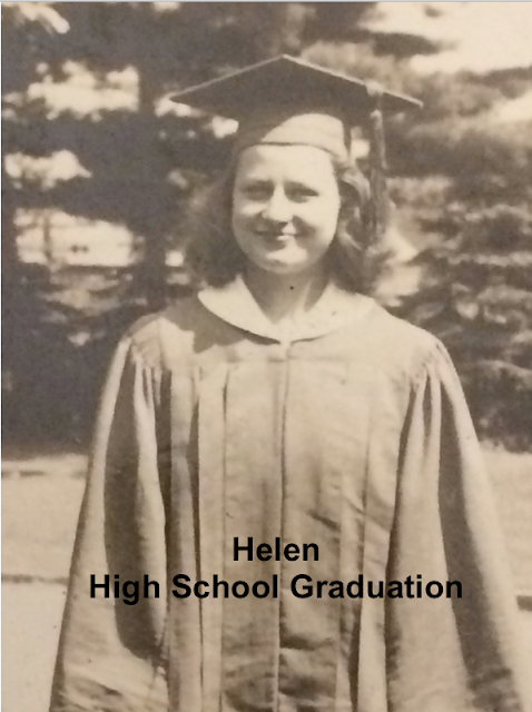 Helen Gross circa 1940, wearing high school graduation cap and gown