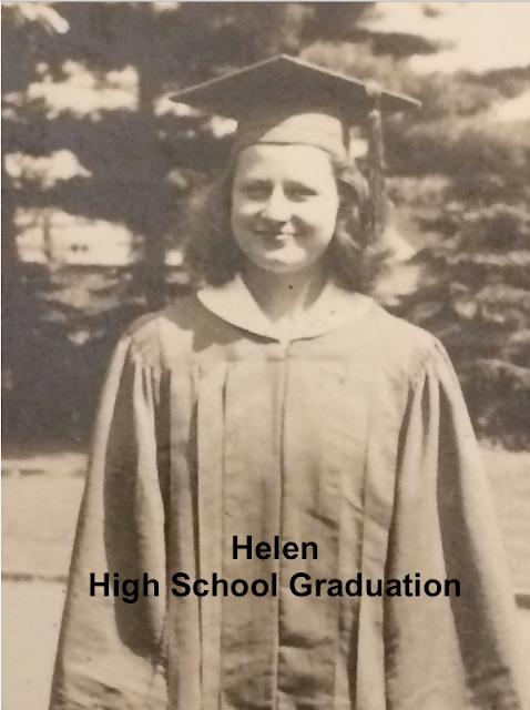 Helen Gross circa 1940, wearing high school graduation cap and gown