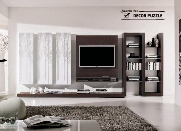 Attractive Living Room Wall Unit Designs, Wall Mounted TV Cabinets Part 25