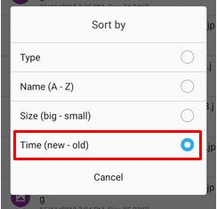 Opsi untuk mengurutkan dari file terbaru ke yang lama