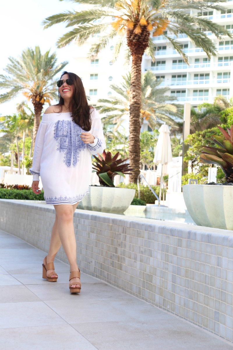 Pool to Drinks :: Tularosa X Revolve Off-The-Shoulder Tunic Live Laugh Linda Quinones