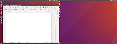 Layar ubuntu terlihat ada dua saat di screen shoot