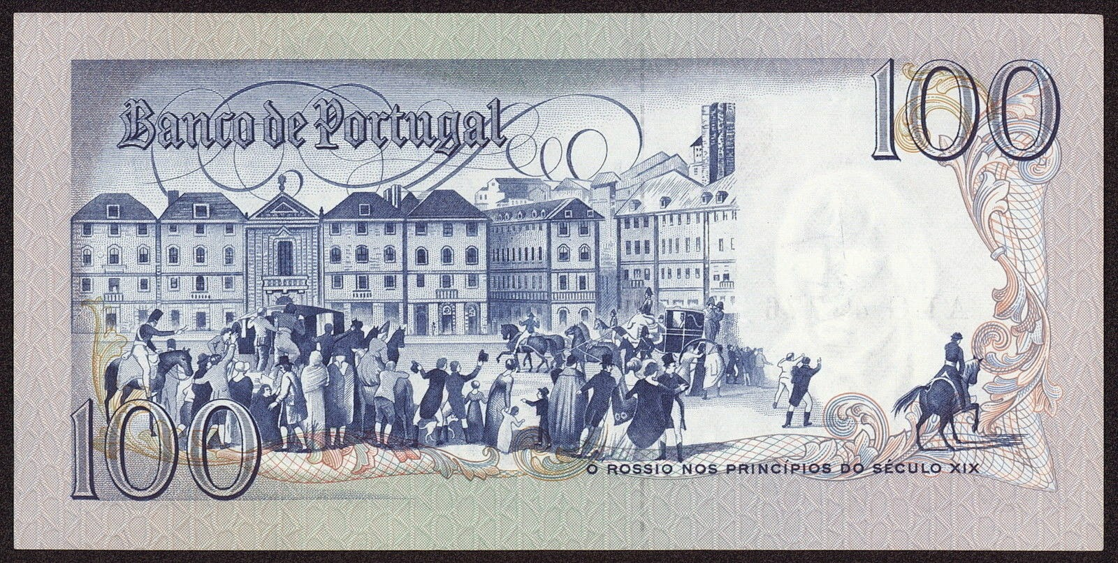 Portugal money currency 100 Escudos banknote 1981 Rossio Square in Lisbon
