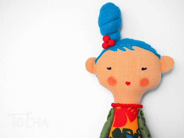 wycinanki. Slavic, folk, craft, doll, rag-doll, contemporary doll-making, cotton, eco felt, blue hair, folk fashion,