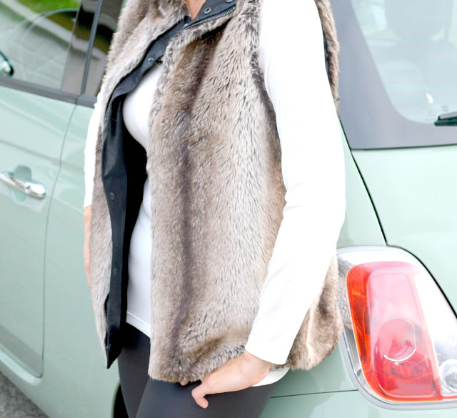 fashion, fashionblogger, faux fur, faux leather, leggings, vest,fiftyandfabulous