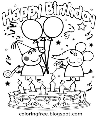 Party balloon cartoon cake Peppa pig happy birthday simple coloring printables for kids art lessons