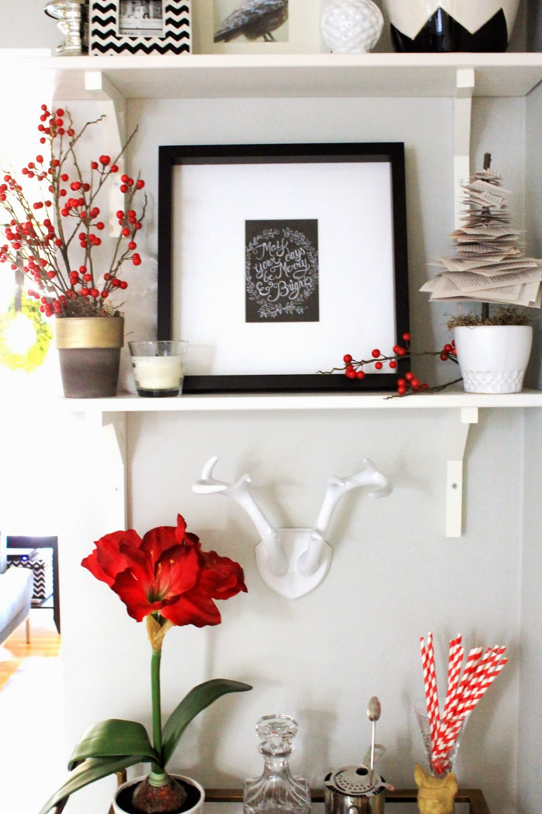Cup Half Full: Holiday Shelf Decor