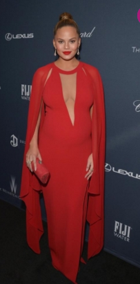 df1c14ca42 First up is from February this year when Chrissy attended the Weinstein  Companys pre-Oscar dinner. She looked radiant in red in this Michael Kors  Met ...