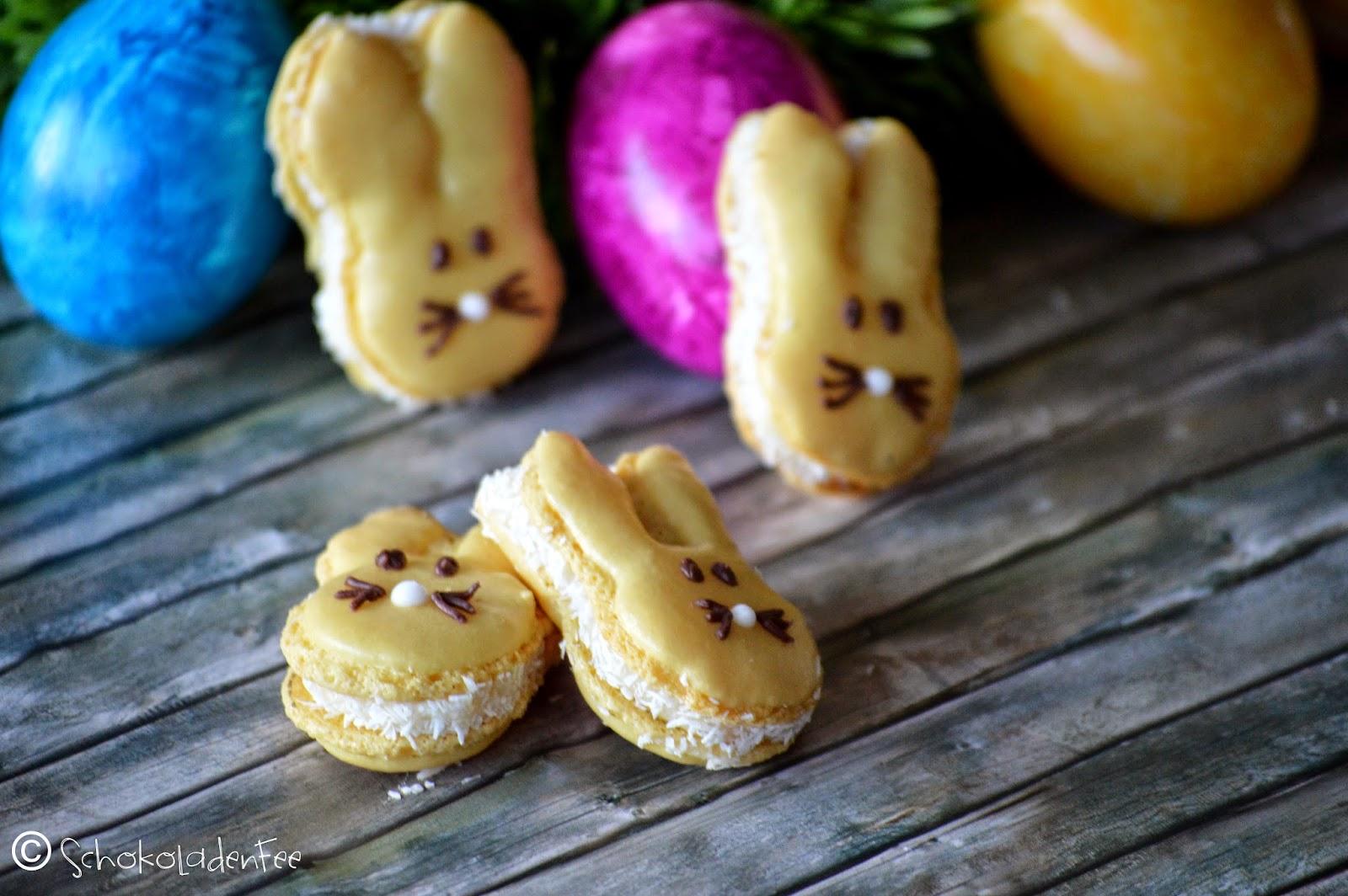 Osterhasen-Macarons mit Kokos-Ganache