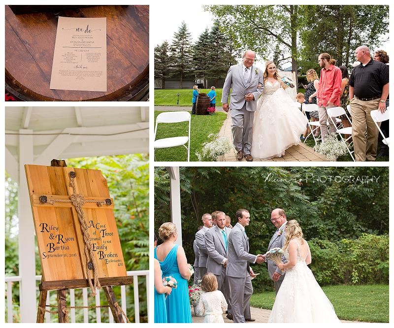country wedding, medalist, michigan outdoor ceremony, down the aisle, religious wedding