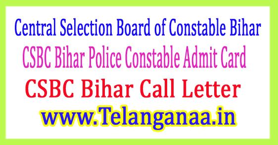 CSBC Bihar Police Constable Admit Card 2017 Download Call Letter