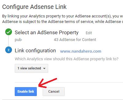 cara mengaitkan adsense dengan analytics data