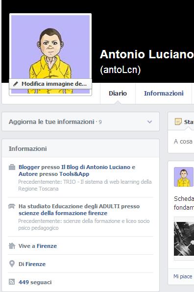 informazioni profilo Facebook Antonio Luciano