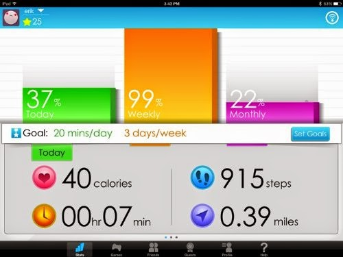 Display your fitness metrics in real time with Goji Play, including time, distance, calories
