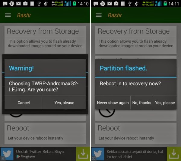 Gambar Update TWRP 2.8.6.0 untuk Andromax G2 LE (Limited Edition) 2