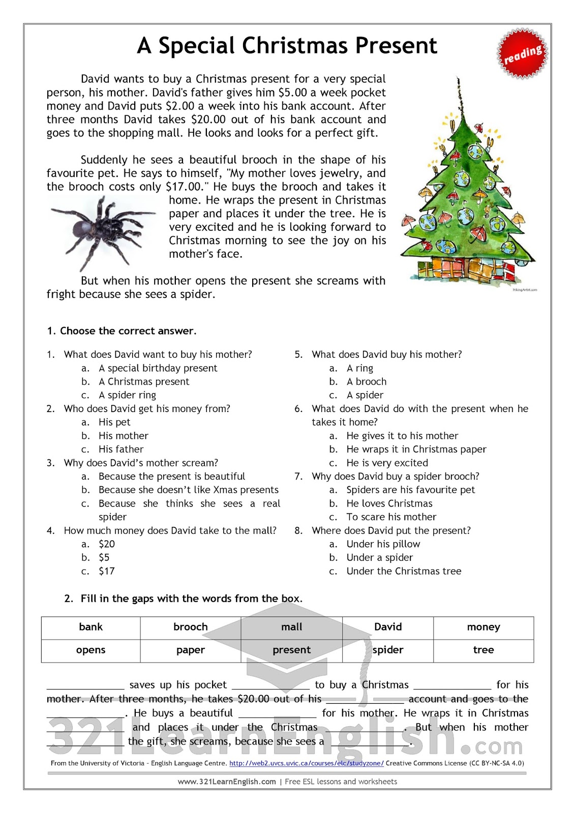 321 Learn English com: Reading: A special Christmas present
