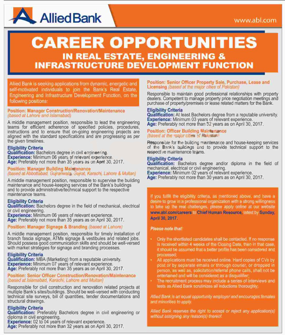 Allied Bank Limited abl jobs 25 April 2017