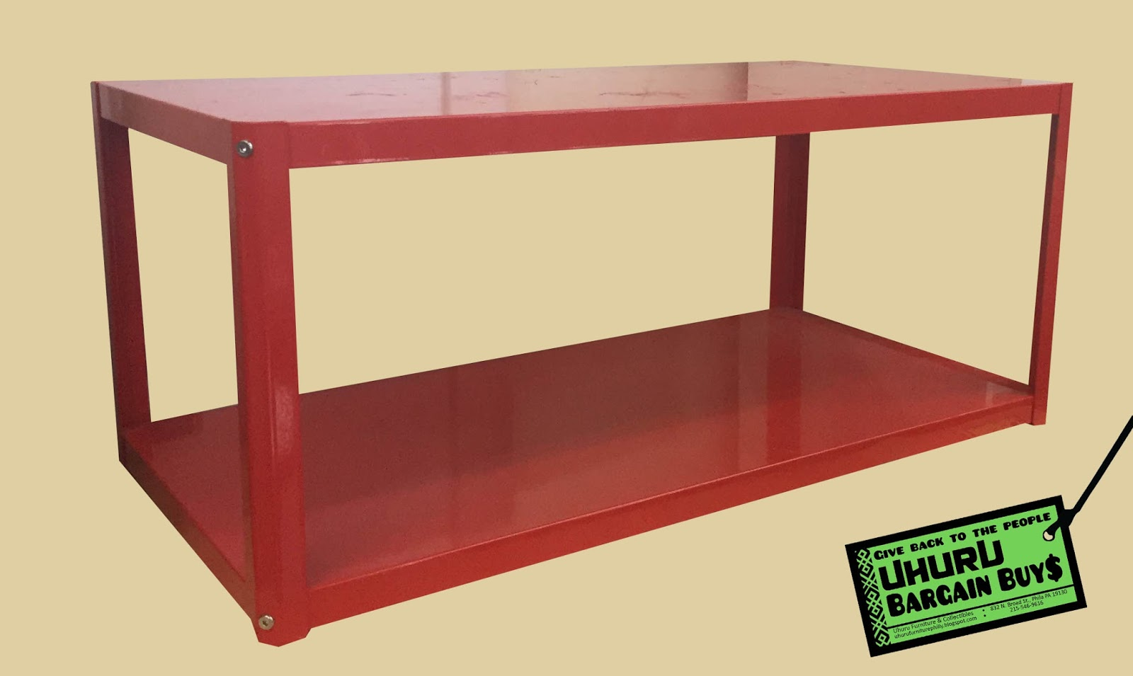 Uhuru Furniture Collectibles Red Metal Coffee Table 25 Sold