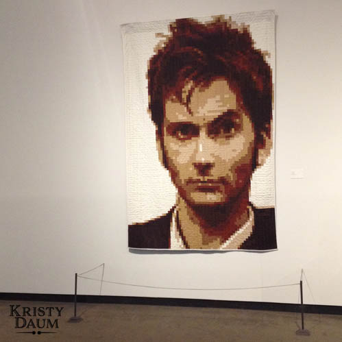 A Whole Other World - Subculture Craft // Racine Art Museum Exhibit 2015 // Kristy Daum - The Tenth Doctor Who Pixel Quilt