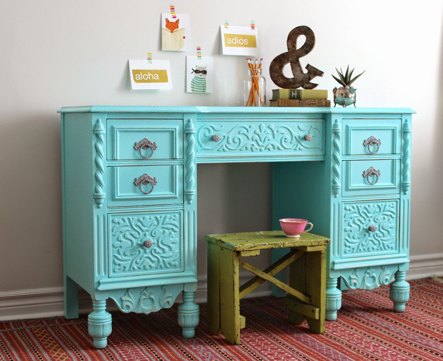 Poppyseed Creative Living Pale Turquoise Desk
